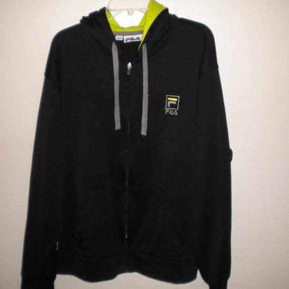 b977d091 Fila Men Size XL Full Zip Hooded Black Sweatshirt
